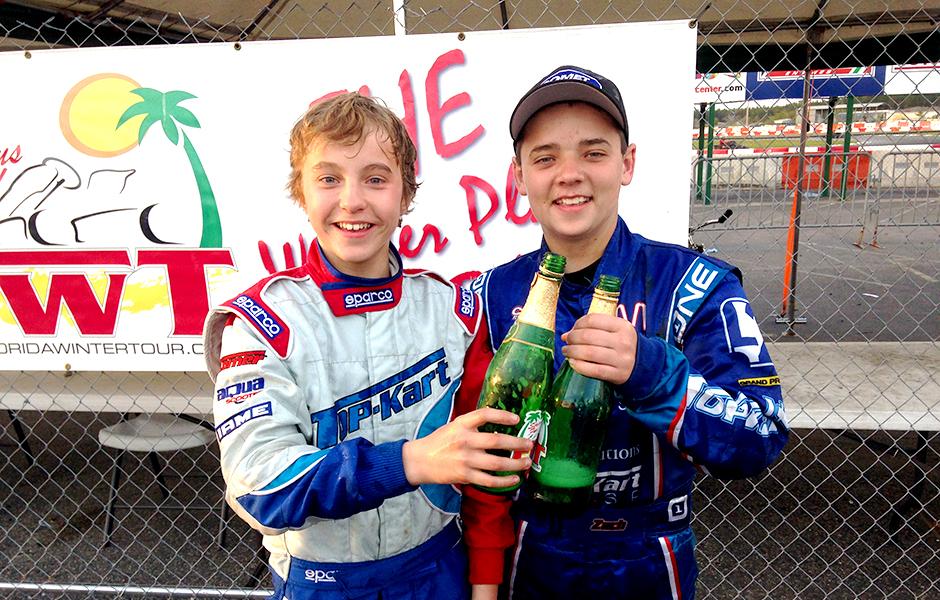 Top Kart USA - Zach and David Champaign Celebration